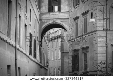 Street view in Rome, Italy. Black and white retro style. - stock photo