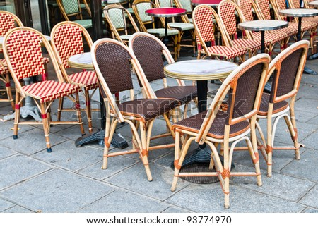 Street view of a Cafe terrace with tables and chairs,paris France