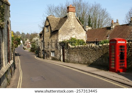 Street View of a Typical English Town - Namely Bradford on Avon in Wiltshire England - stock photo