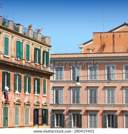 Street view of Mediterranean architecture in Rome, Italy. - stock photo
