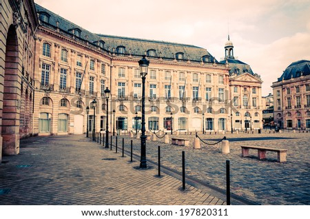 Street view of old town in bordeaux city, France Europe - stock photo