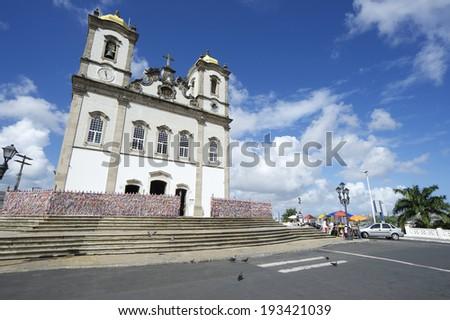 Street view of the famous Igreja Nosso Senhor do Bonfim da Bahia church in Salvador Bahia Brazil - stock photo