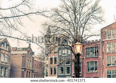 street view of Traditional old buildings in Amsterdam, the Netherlands