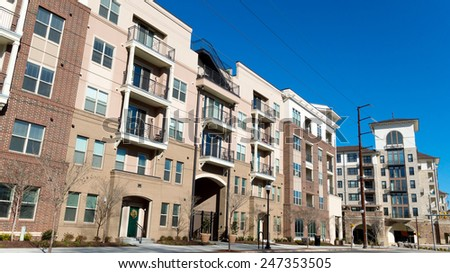 Street view on modern apartment complex - stock photo