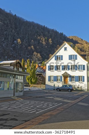 Street view on the Alps in Town of Bad Ragaz. Bad Ragaz is a city in canton St. Gallen in Switzerland.  It lies over Graubunden Alps. Spa and recreation village is at end of Tamina valley