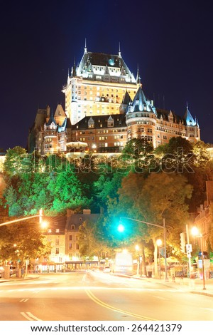 Street view with Chateau Frontenac at night in Quebec City - stock photo
