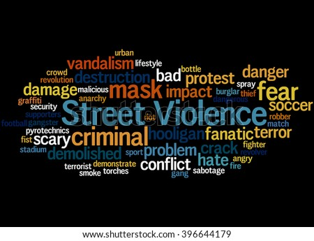 Street Violence, word cloud concept on black background.