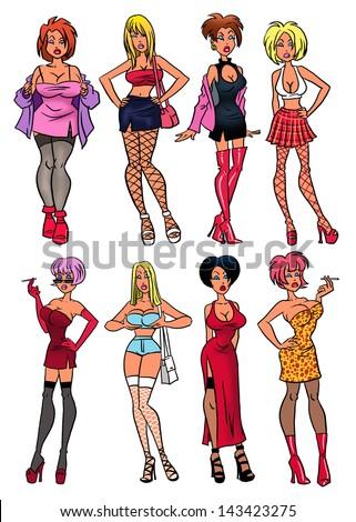 Street whores. - stock photo