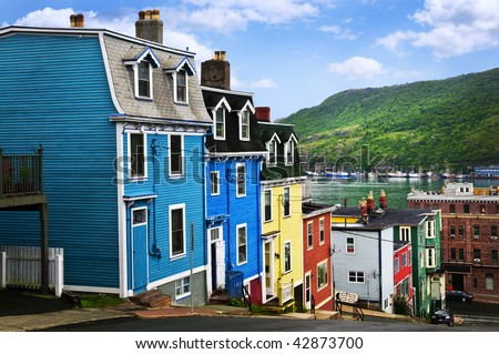 Street with colorful houses near ocean in St. John's, Newfoundland, Canada - stock photo