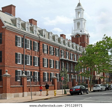 street with New England style college residence building - stock photo