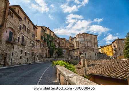 street with old stone houses in Perugia, Umbria, Italy
