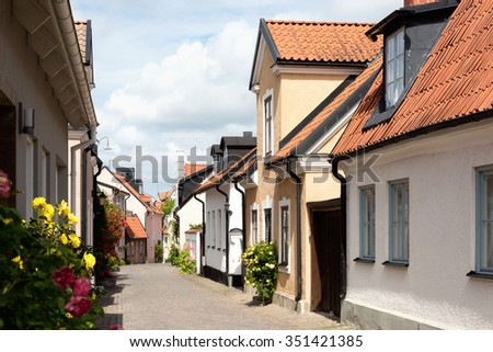 Street with typical buildings in the old town of Visby on the island Gotland, Sweden