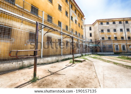 street workout in jail - stock photo