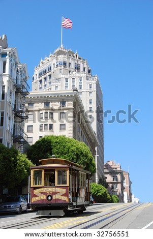 Streetcar on California Street in San Francisco - stock photo