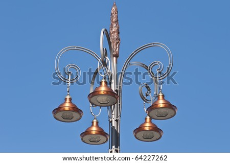 Streetlamp at De la Comedie Square located at Bordeaux France - stock photo
