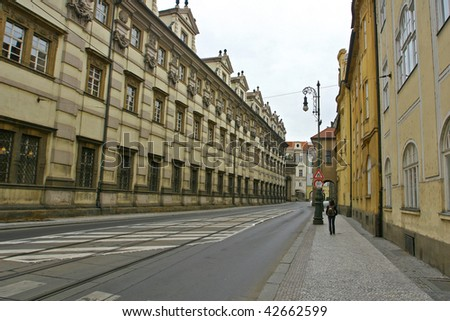 Streets and architecture in Prague. - stock photo