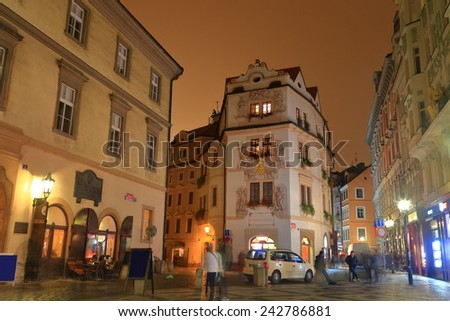 Streets and buildings from the Prague Old Town by night, Czech Republic - stock photo