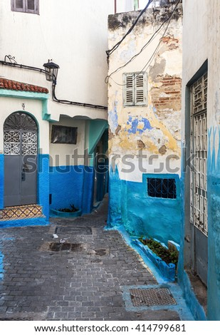 Streets and corners of the Medina, old part of Tangier, Morocco