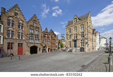 Streets and houses in the historical part of Bruges, Belgium
