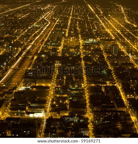 streets and lights of Chicago by night - stock photo