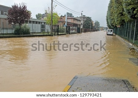 streets and roads submerged by the mud of the flood after the flooding of the River - stock photo
