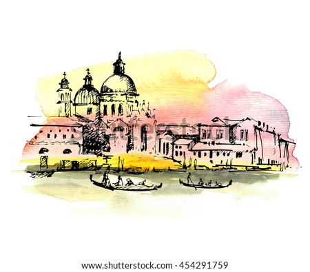 Streets in Venice with gondola, Italy. Hand drawn sketch on colorful watercolor background. - stock photo