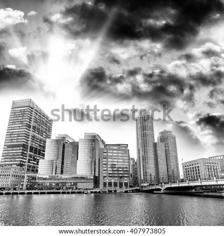 Streets of Boston, MA. Black and white view. - stock photo