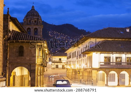 Streets of Cuzco before sunset. Cuzco, Peru. - stock photo