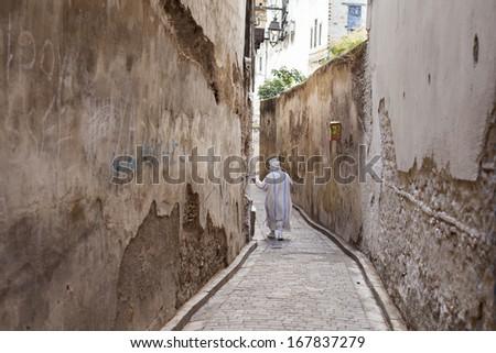 streets of Fes, Medina, Morocco - stock photo