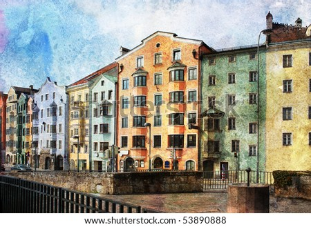 Streets of Innsbruck, Austria. Made in artistic watercolor style with texture