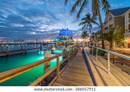 Streets of Key West, Florida at night. - stock photo