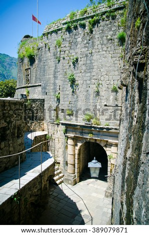streets of Kotor, Montenegro. View on old town of Kotor UNESCO twon in Montenegro.  - stock photo
