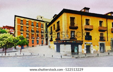 Streets of La Latina district (Madrid) in Watercolor