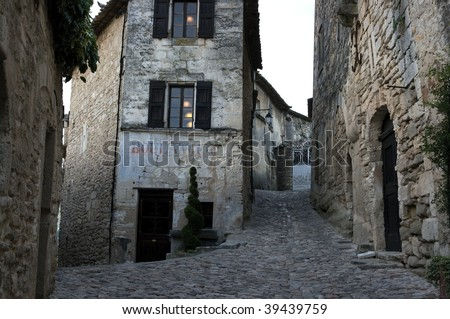 Streets of Lacoste village in provence - stock photo