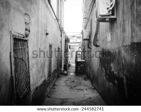 Streets of old Baku city, Azerbaijan, Black&white - stock photo