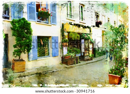 streets of old Montmartre (Paris)- watercolor style - stock photo