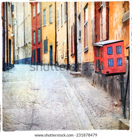 streets of old town in Stockholm - stock photo