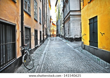 streets of old town . Stockholm - stock photo