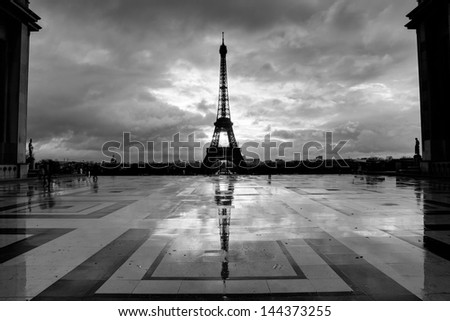 Streets of Paris in black and white. Eiffel Tower - stock photo