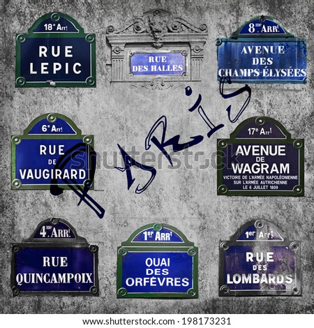 Streets of Paris signs - stock photo