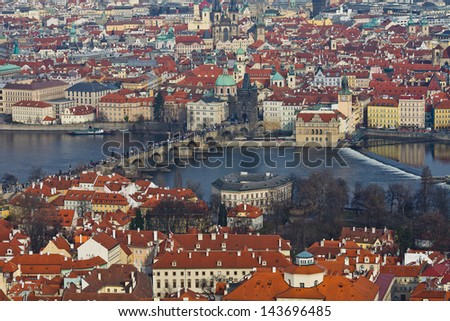 Streets of Prague. View Prague from above - stock photo