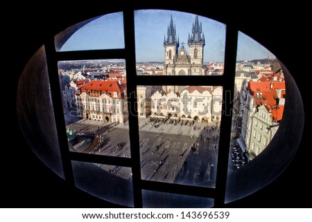 Streets of Prague. View the Prague from a window - stock photo