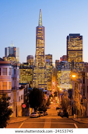 Streets of San Francisco at night - stock photo