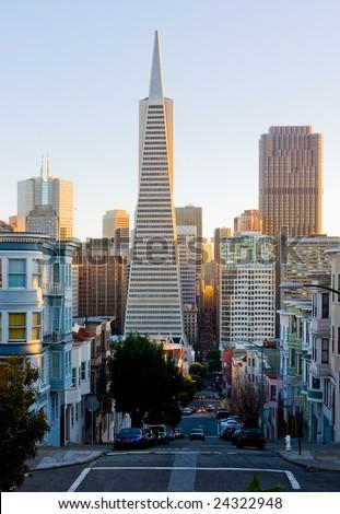 Streets of San Francisco at sunset - stock photo