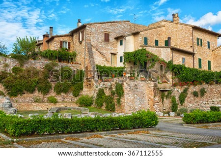 Streets of the ancient city of Spello, Umbria, Italy - stock photo