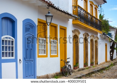 streets of the famous historical town Paraty, Brazil  - stock photo