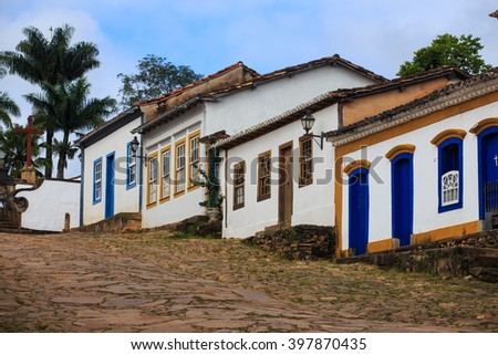 streets of the famous historical town Tiradentes, Minas Gerais, Brazil  - stock photo