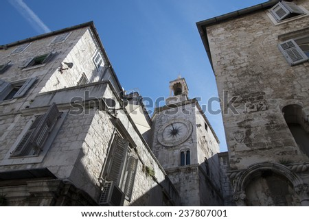 streets of the old town of Split, Croatia - stock photo
