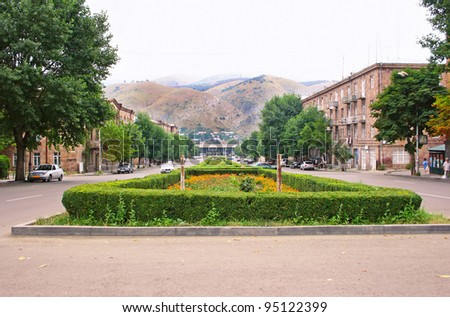 Streets of Vanadzor city in Armenia.