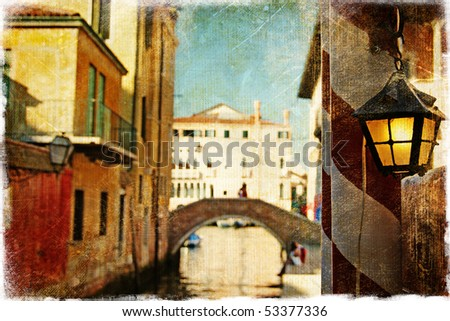streets of Venice - artwork in painting style - stock photo